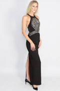Kalinka Beaded Panel Halter Gown