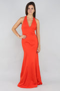 Low Cut Orange Gown