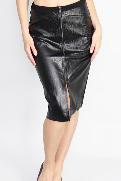 Serpent Sprint Embossed PU Skirt
