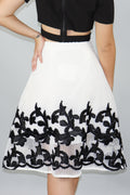 Embroidered White A-Line Skirt