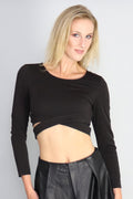 Surreal Silence Wrap Black Crop Top