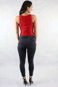 Web Of Life Peel Hem Red Crop Top