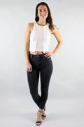 Web Of Life Peel Hem White Crop Top