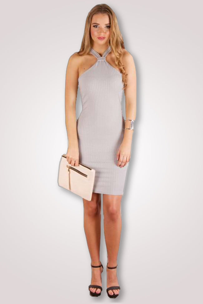 Racer Neck Rib Grey Dress