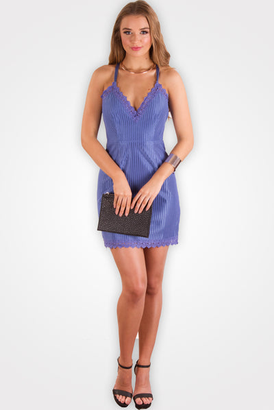 Lace Trim Blue Mini Dress