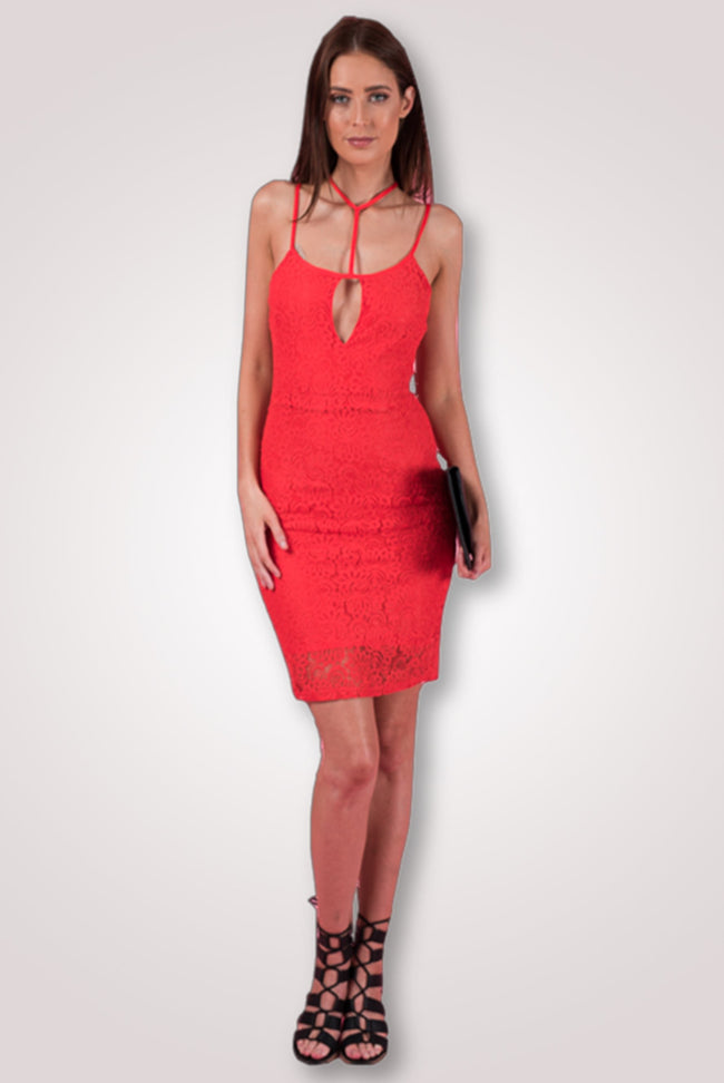 Floral Lace, Strap Detail Red Bodycon Dress