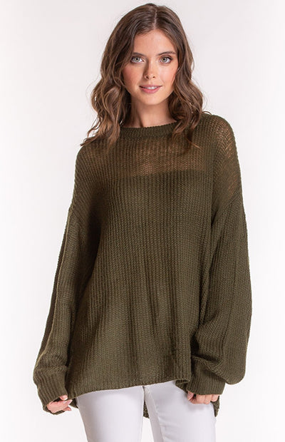 Khaki Loose Knit With Bubble Sleeves