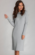 Grey Blue Loose Fit Midi Length Knit Dress