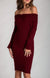 Wine Red Off The Shoulder Twist Detail Knit Dress