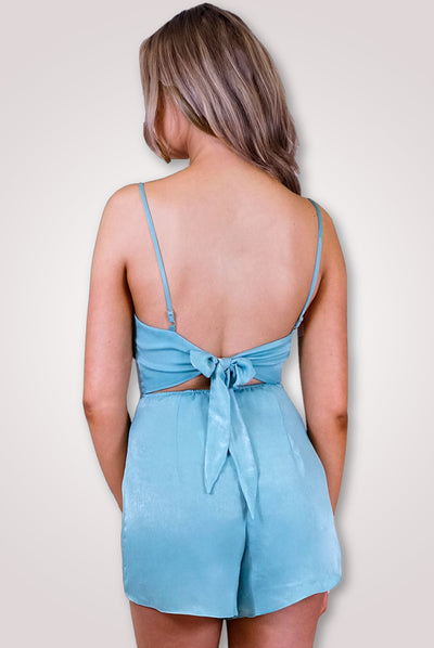 Square Neckline Turquoise Playsuit With Straps