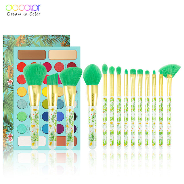 Docolor 14pcs Makeup Brushes Set and 34 Color Matte Shimmer Eyeshadow Palette Make up Palette Professional Tropical Collection
