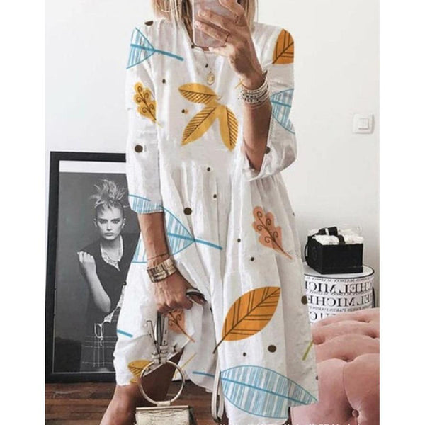 Plus Size Casual Print Half Sleeve Dresses