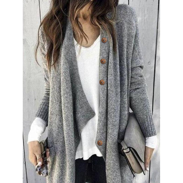 Solid Color Buttoned Casual Cardigan