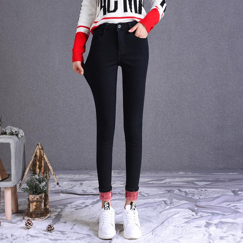 Women High Waist Skinny Pencil Plush Warm Pants