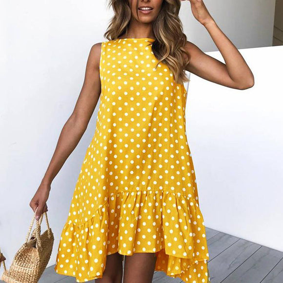 Sleeveless Ruffled Polka Dot Mini Dress