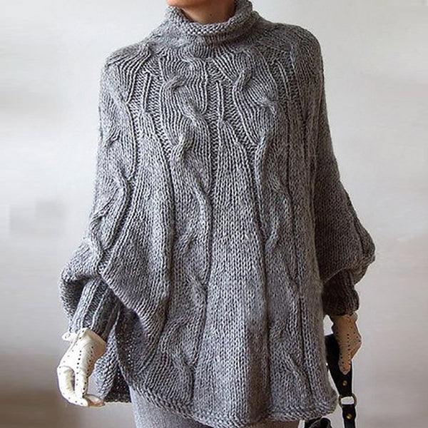 Loose Turtleneck Knitted Bat Sleeve Cape Sweater