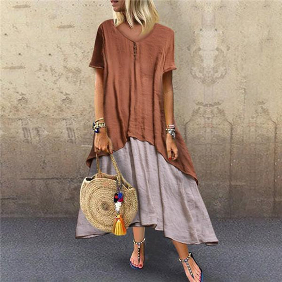Fashion Casual Stitching Linen Short Sleeves Dresses
