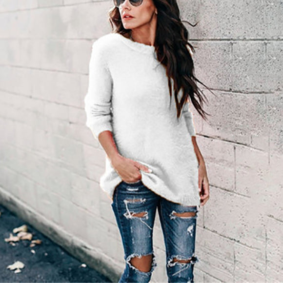 Women Solid Color Long Sleeve Round Neck Sweaters
