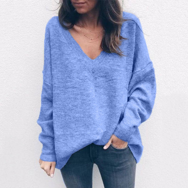 Long Sleeve Solid Color Knit Sweaters