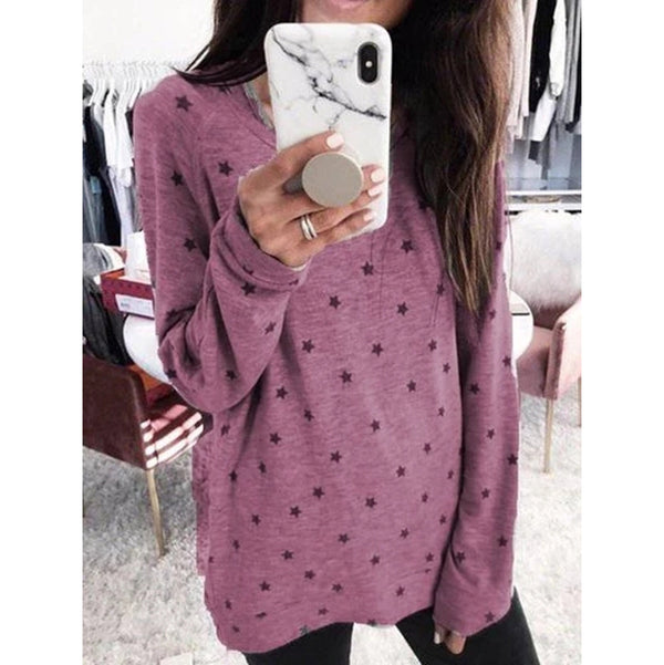 Female Star Print Long Sleeve T-Shirts