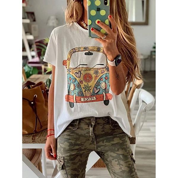 Women's Short Sleeve Round Neck Cartoon Printed Casual Blouse