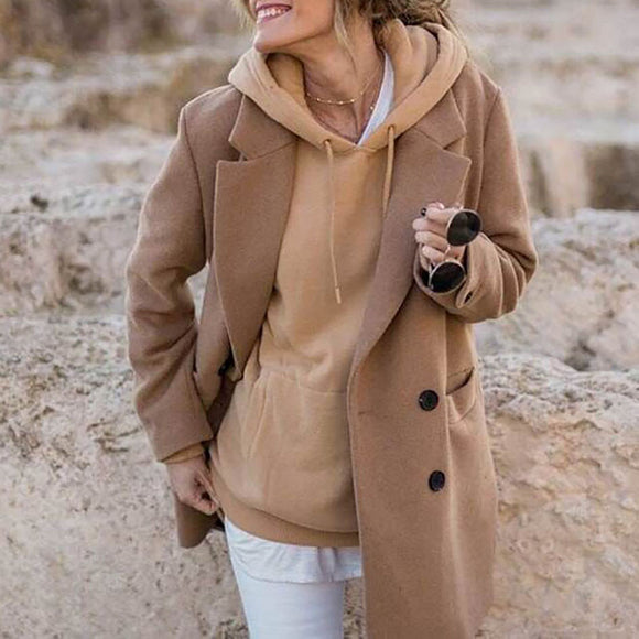 Women Solid Color Double-Sided Woolen Coats