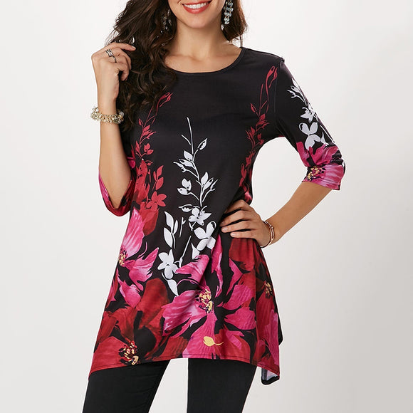Printed Round Neck Half Sleeve Plus Sizes T-Shirts