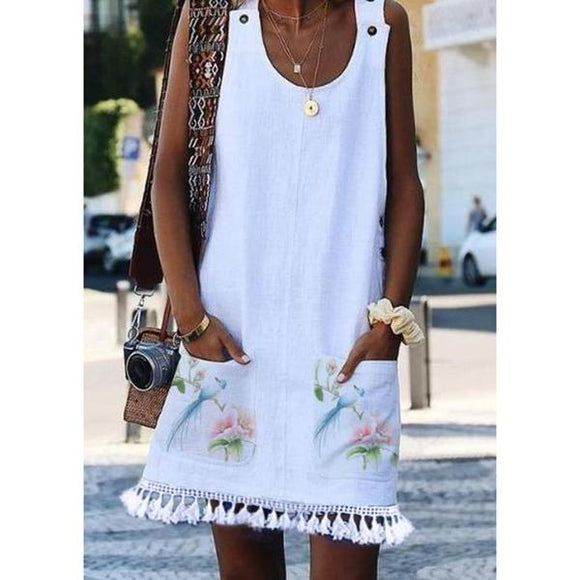 Sleeveless Floral Tassel Casual Dresses
