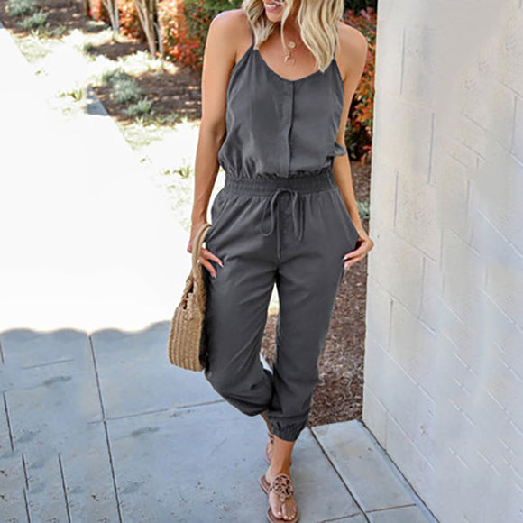 Women Casual Sleeveless Solid Color Daily Jumpsuits