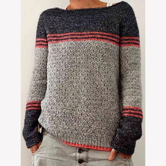 Casual Colorblock Slim Sweater Knit Sweaters