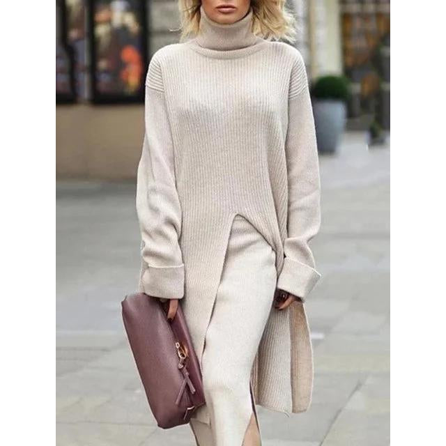 Casual Long Sleeve Turtleneck Sweater Dresses