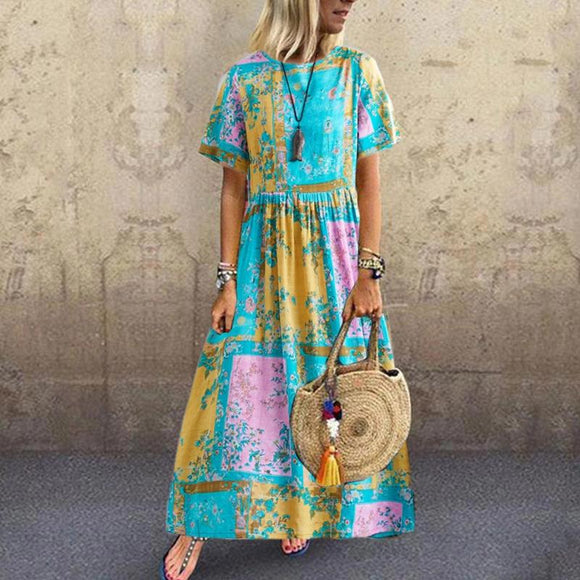 Summer Printed Pleated Round Neck Short Sleeve Dress