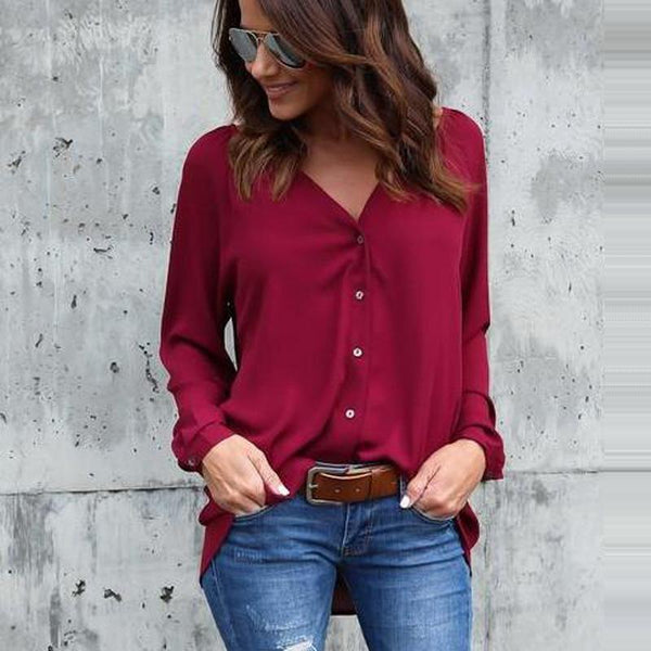 Casual Loose Chiffon V Neck Button Long Sleeve Blouse