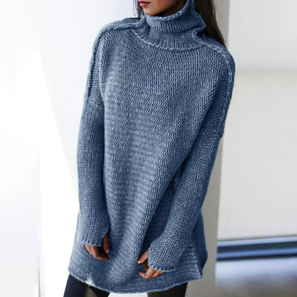 Fashion Solid Color Turtleneck Long Sleeve Pullover Sweaters