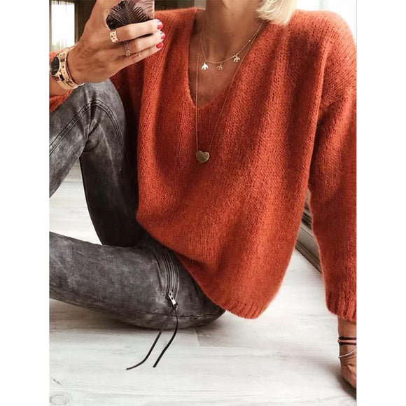 Women Casual Solid Soft Knit Sweaters