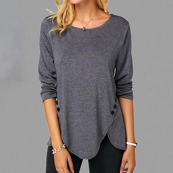 Women's Causal Irregular Round Neck Button Stitching Blouses