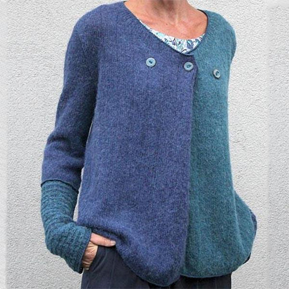 Fashion Color Block Loose Soft Button Sweaters