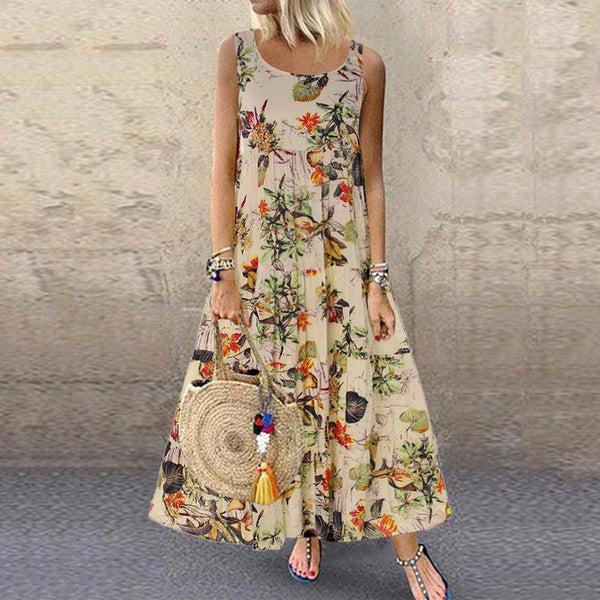 Casual Floral Printed Crew Neck Sleeveless Dress