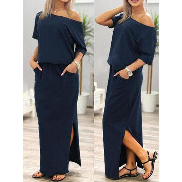 Short Sleeve Side Slit Loose Long Dress