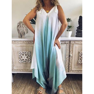 V Neck Loose Printed Fashion Jumpsuits