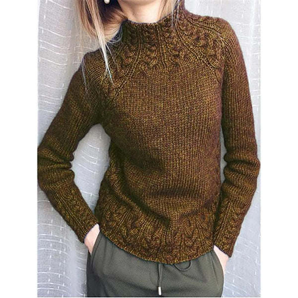 Turtleneck Solid Color Vintage Sweaters