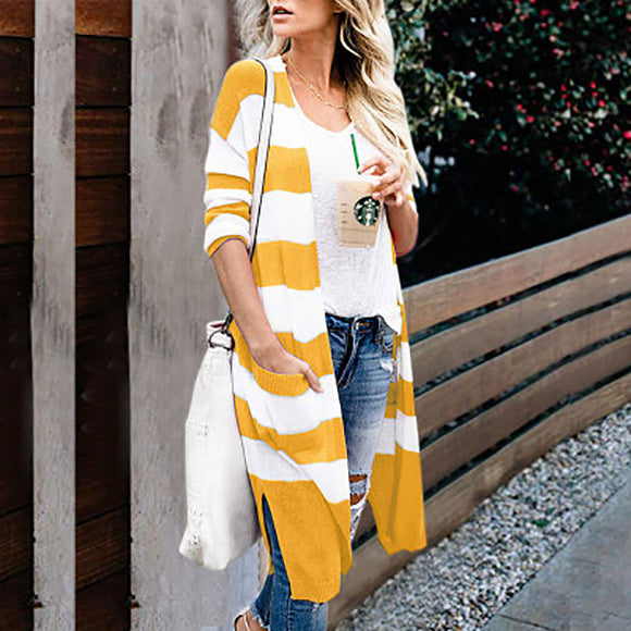 Striped Knit Cardigans Loose Casual Coats