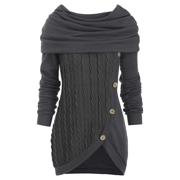 Plus Size Buttoned Casual Women Sweaters