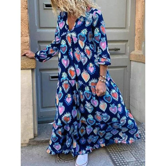 Large Size V-Neck Printed Bohemian Dress