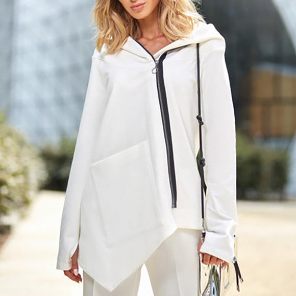 Solid Color Hooded Diagonal Zipper Irregular Coats
