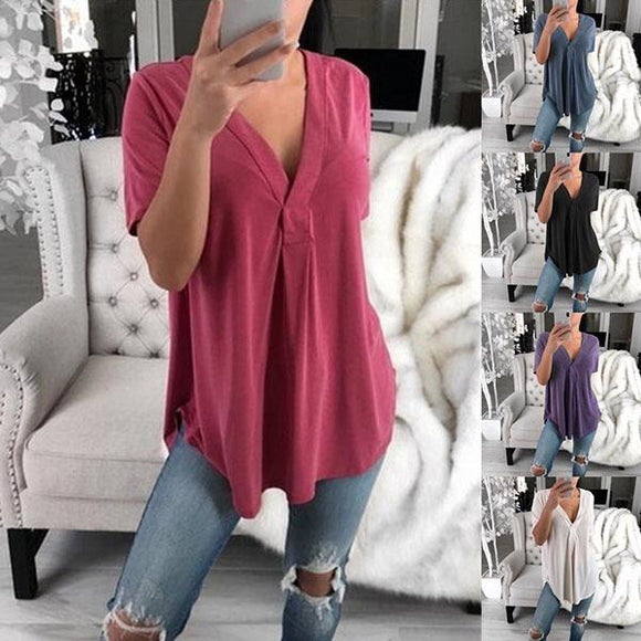 Solid Color Irregular V Neck Blouse