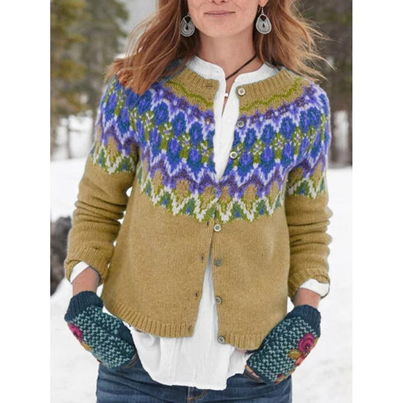 Crew Neck Long Sleeve Tribal Buttoned Women's Cardigans