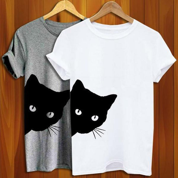 Cat Looking Outside Print Women Tshirt  Casual Funny T Shirt for Lady Girl Top