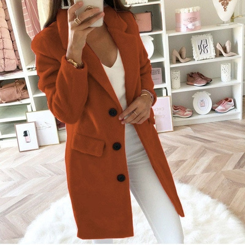 New Arrival  Women Fashion Casual Solid Color Slim Fit Coats