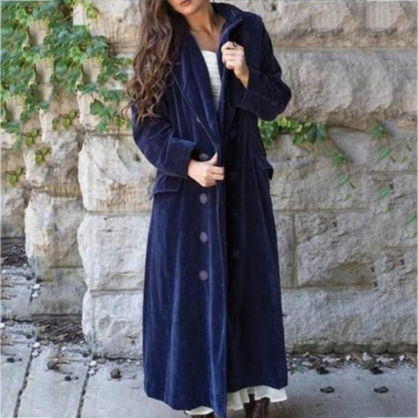 Casual Solid Velvet Buttoned Outerwear